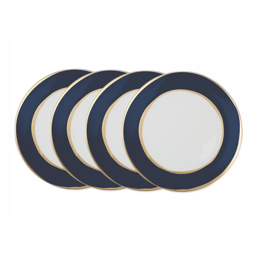 La Vienne Gold Navy Blue Salad Plates - Set of 4