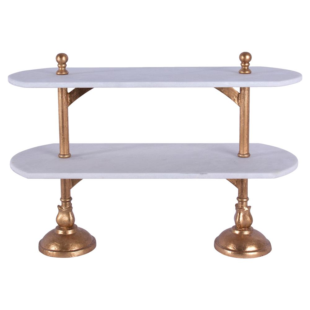 Du Pan Boulanger Double Platform Brass Marble Tray
