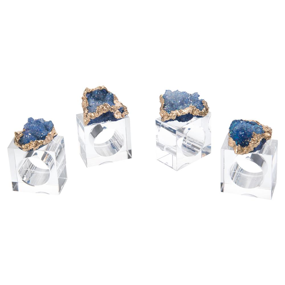 Gold Plated White Geode Crystal Napkin Rings - Set of 4