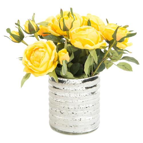 Charleston Faux-Floral Butter Yellow Rose Bouquet