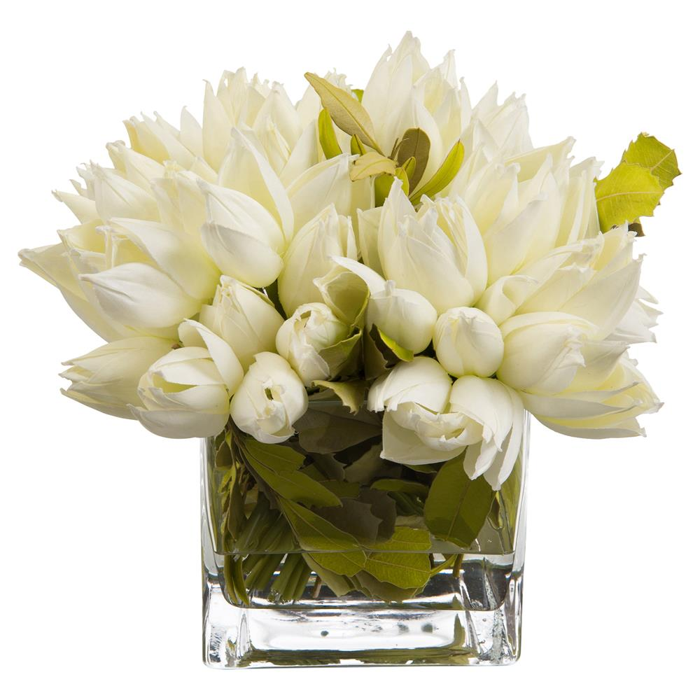Charleston Snowdrop White Faux-Floral Tulip Arrangement