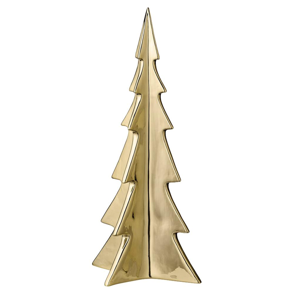 Large All Is Merry Gold Porcelain Christmas Tree Decorative Sculpture - Set of 6