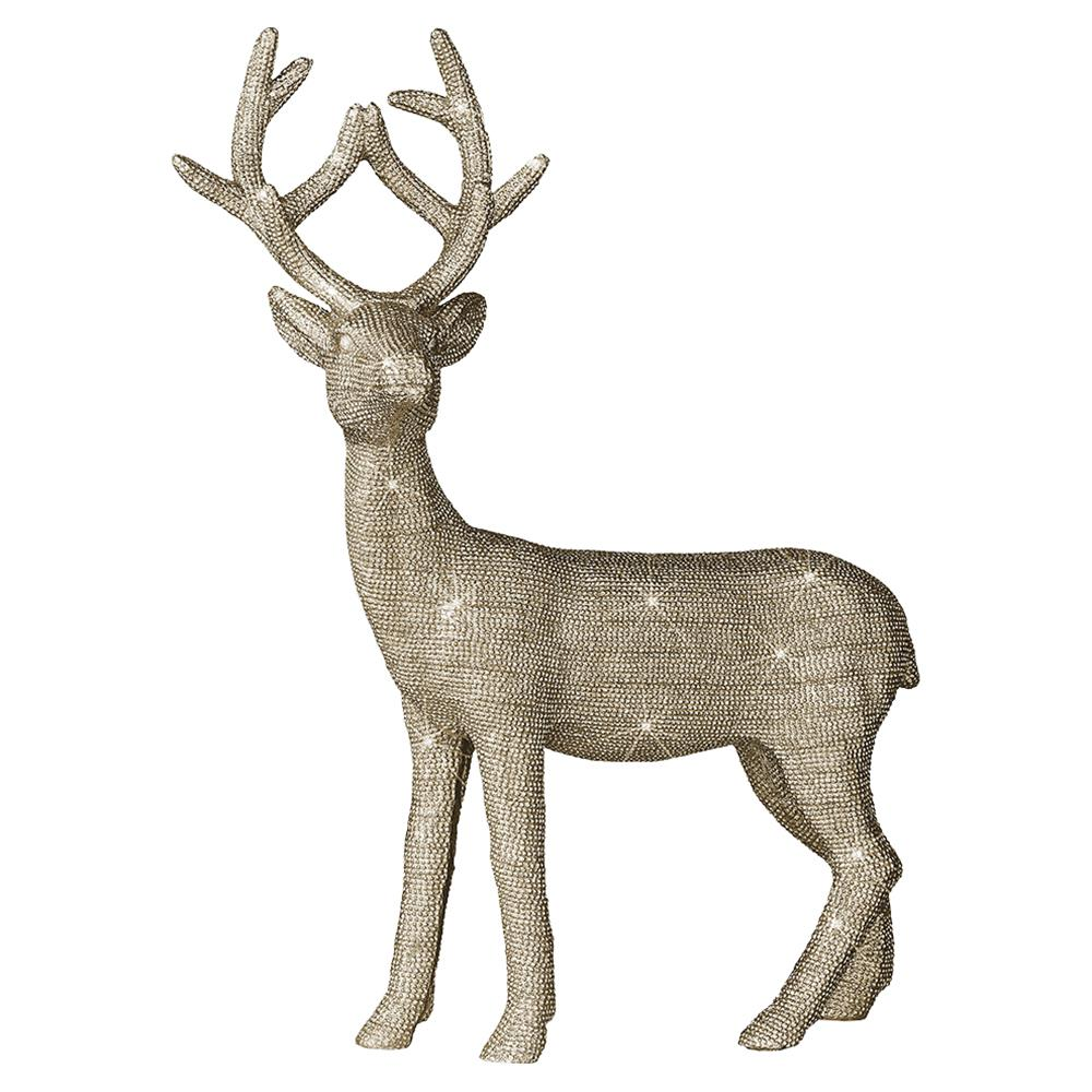 Prancer Regency Bright Gold Sparkle Decorative Deer Sculpture - Set of 4