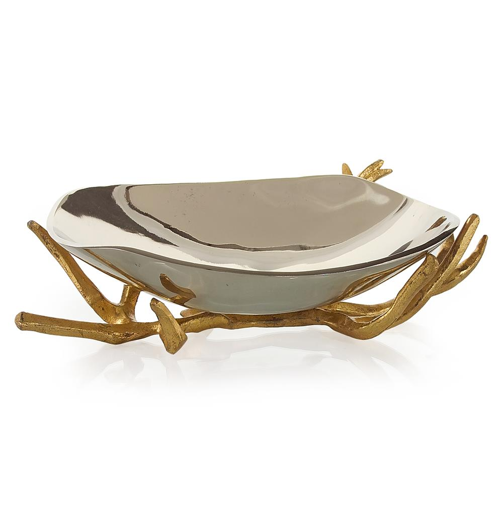 Theron Hollywood Regency Gold Branches Silver Decorative Bowl