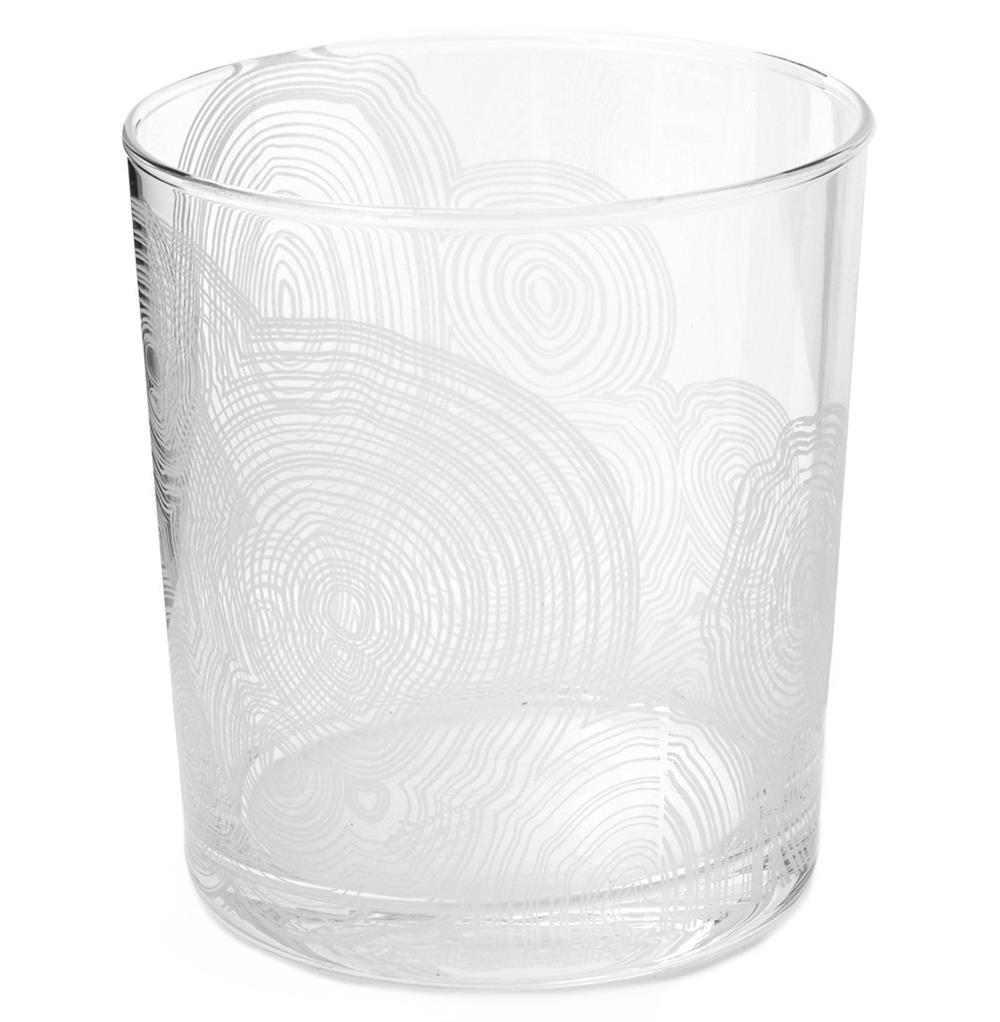Tree Rings Hollywood Regency White Short Rocks Glasses - Set of 6