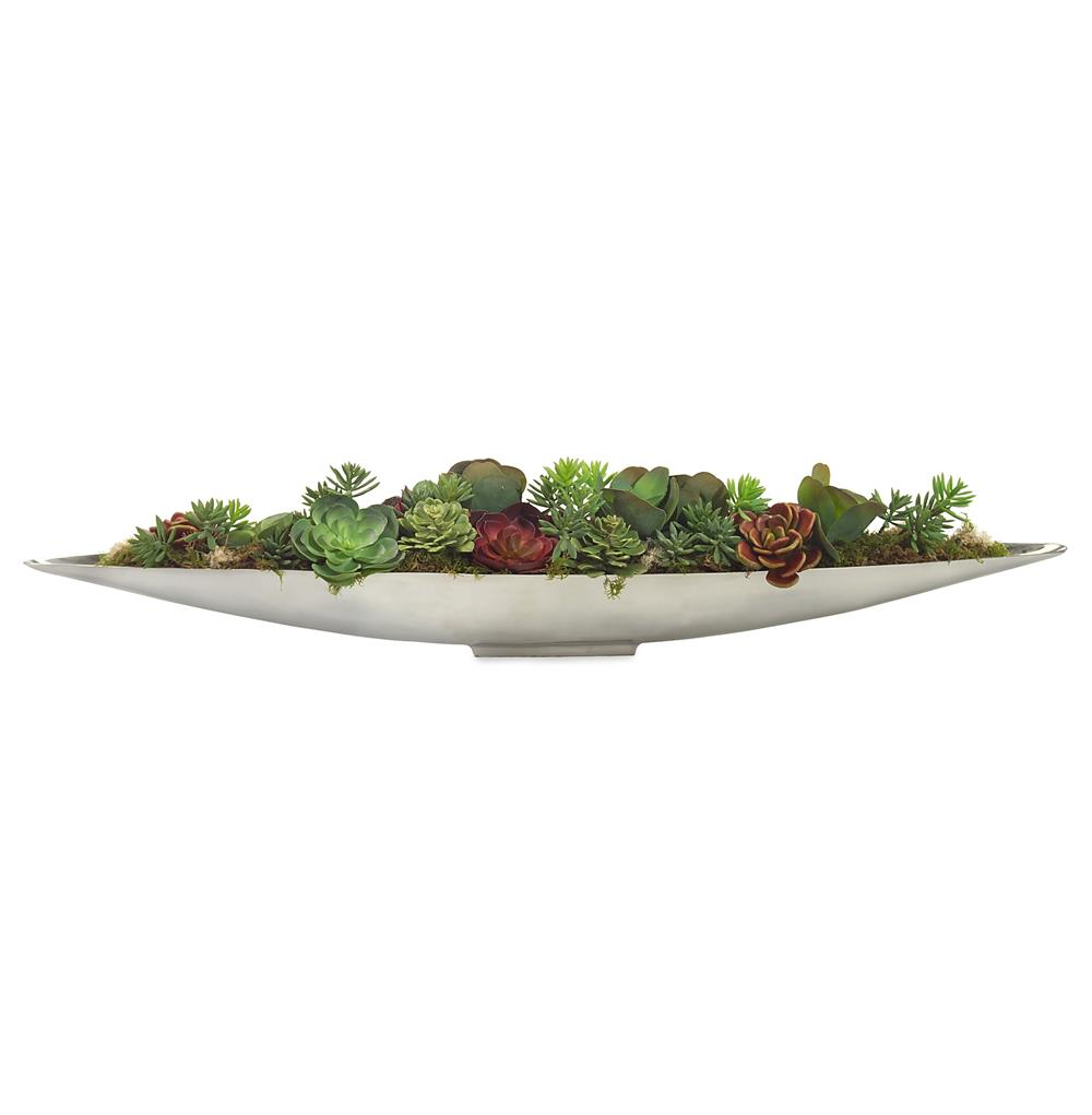 Faux Red Green Succulent Plants in Mercury Metal Canoe Bowl