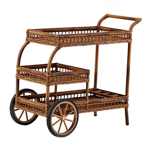 Jerry Coastal Beach Chestnut Bar Cart