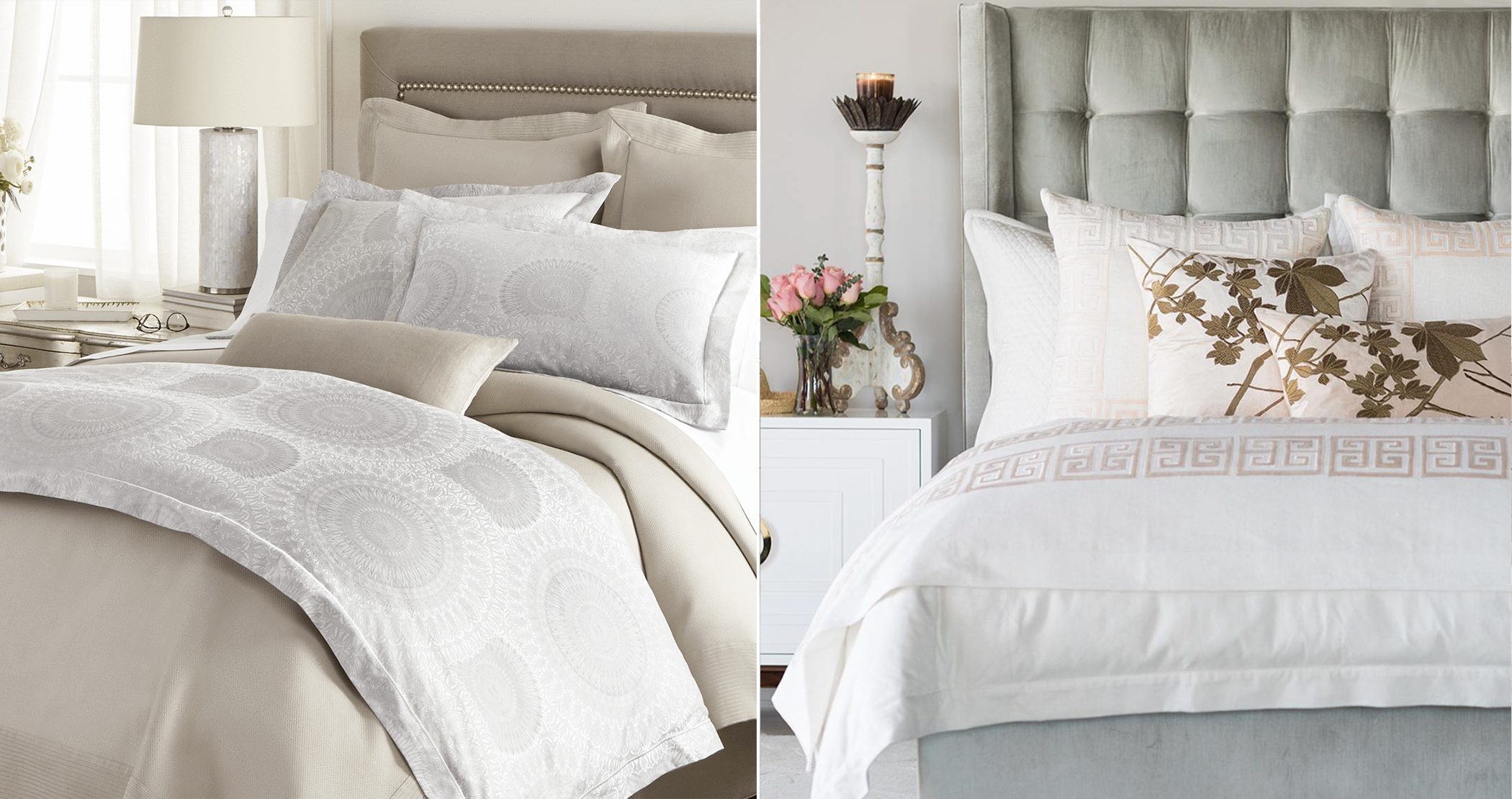 photo collage of chic bedding
