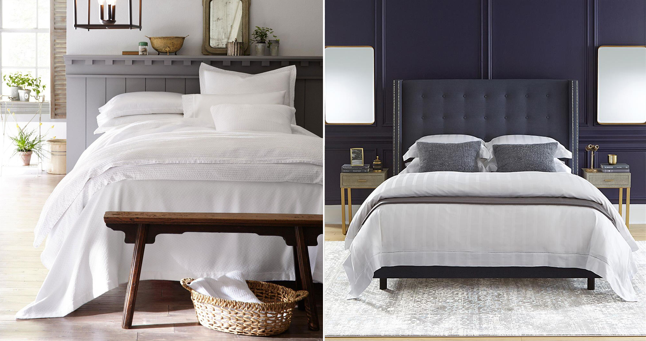 photo collage of chic white beds