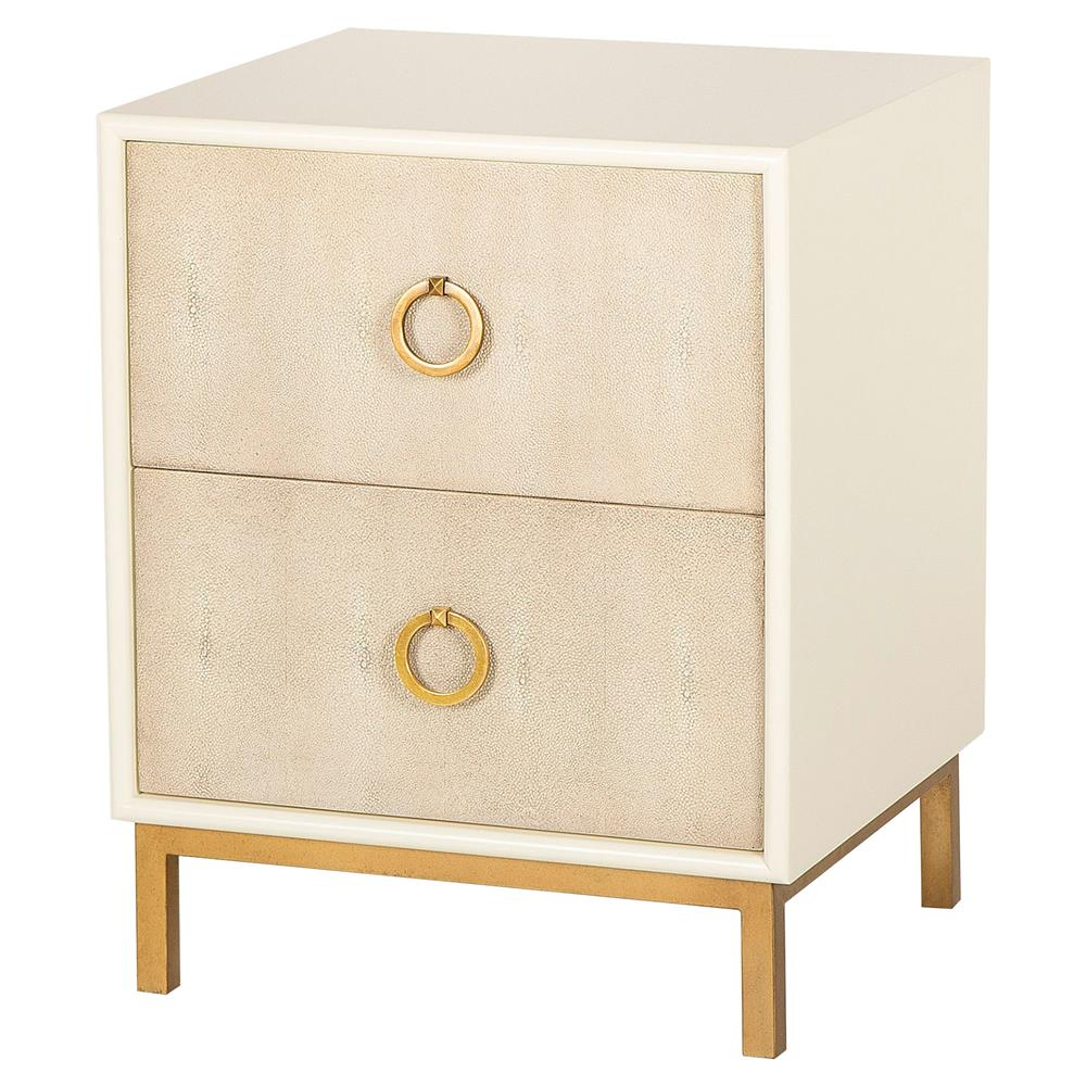 Resource Decor Amanda Regency Ivory Lacquer Tan Shagreen Nightstand
