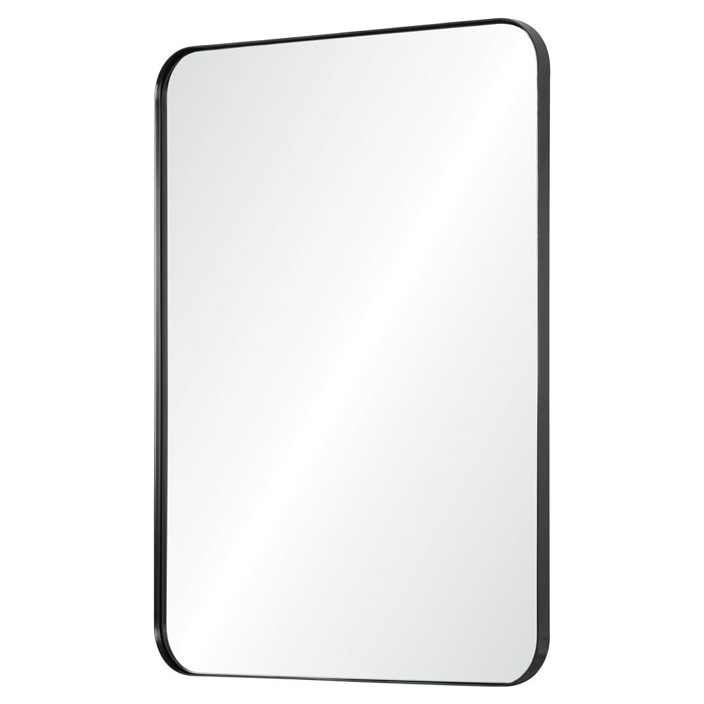 Earl Modern Classic Black Stainless Steel Frame Rounded Edge Wall Mirror
