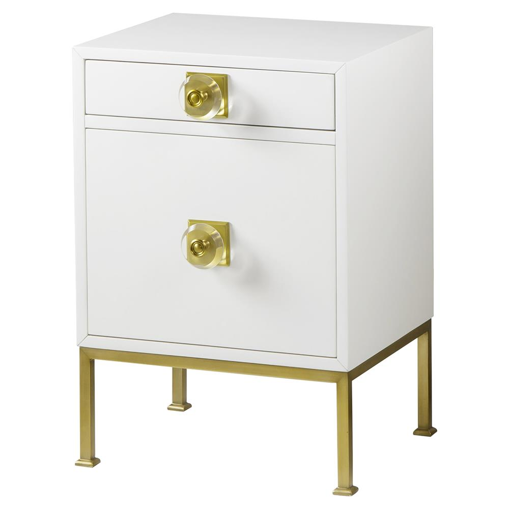 Resource Decor Modern Classic White Wood Frame Gold Metal Base Nightstand