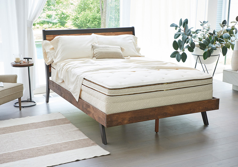 bed with organic mattress