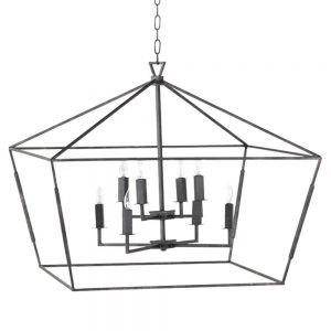 Ira Industrial Loft Black Tetrahedron Chandelier