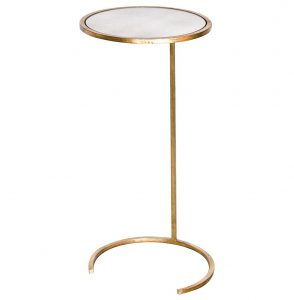 Electra Hollywood Regency Gold Leaf Antique Mirror Side Table