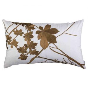 Lili Alessandra Leaf Regency Silk Pillow - Ivory Gold Rectangle