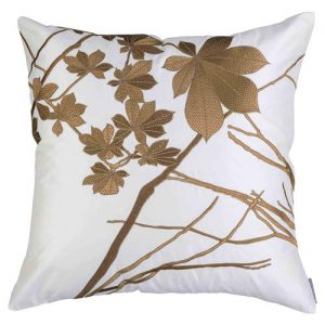 Lili Alessandra Leaf Regency Silk Pillow - Ivory Gold Square