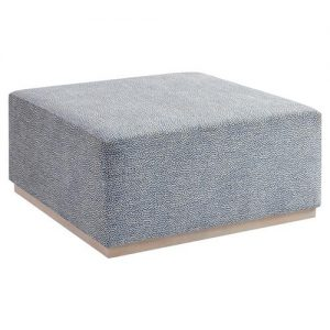 Barclay Butera Clayton Modern Blue Upholstered Tight Seat Cocktail Ottoman