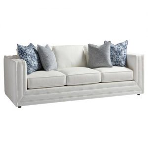 Barclay Butera Mercer Modern Double Welt Ivory Upholstered Black Wood Sofa