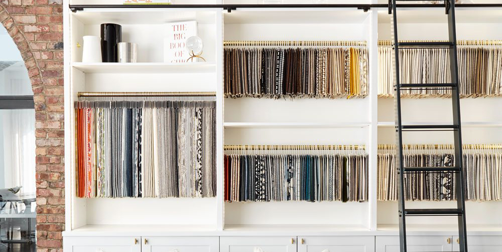wall of fabric swatches