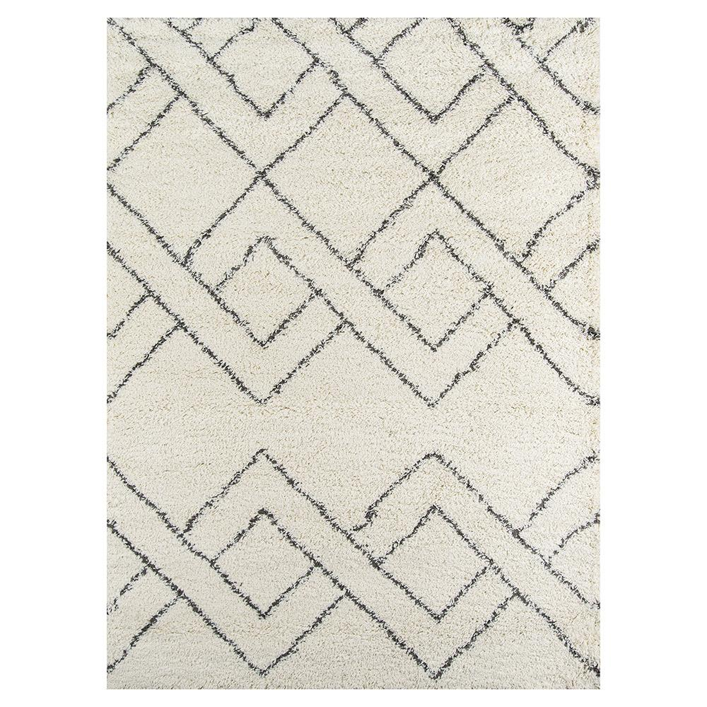 Brighton White Black Diamond Pattern Shag Rug