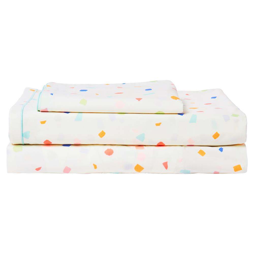 Meri Meri Modern Multicolor Cotton Terrazzo Twin Sheet Set