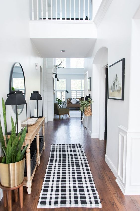 hallway with patterned rug