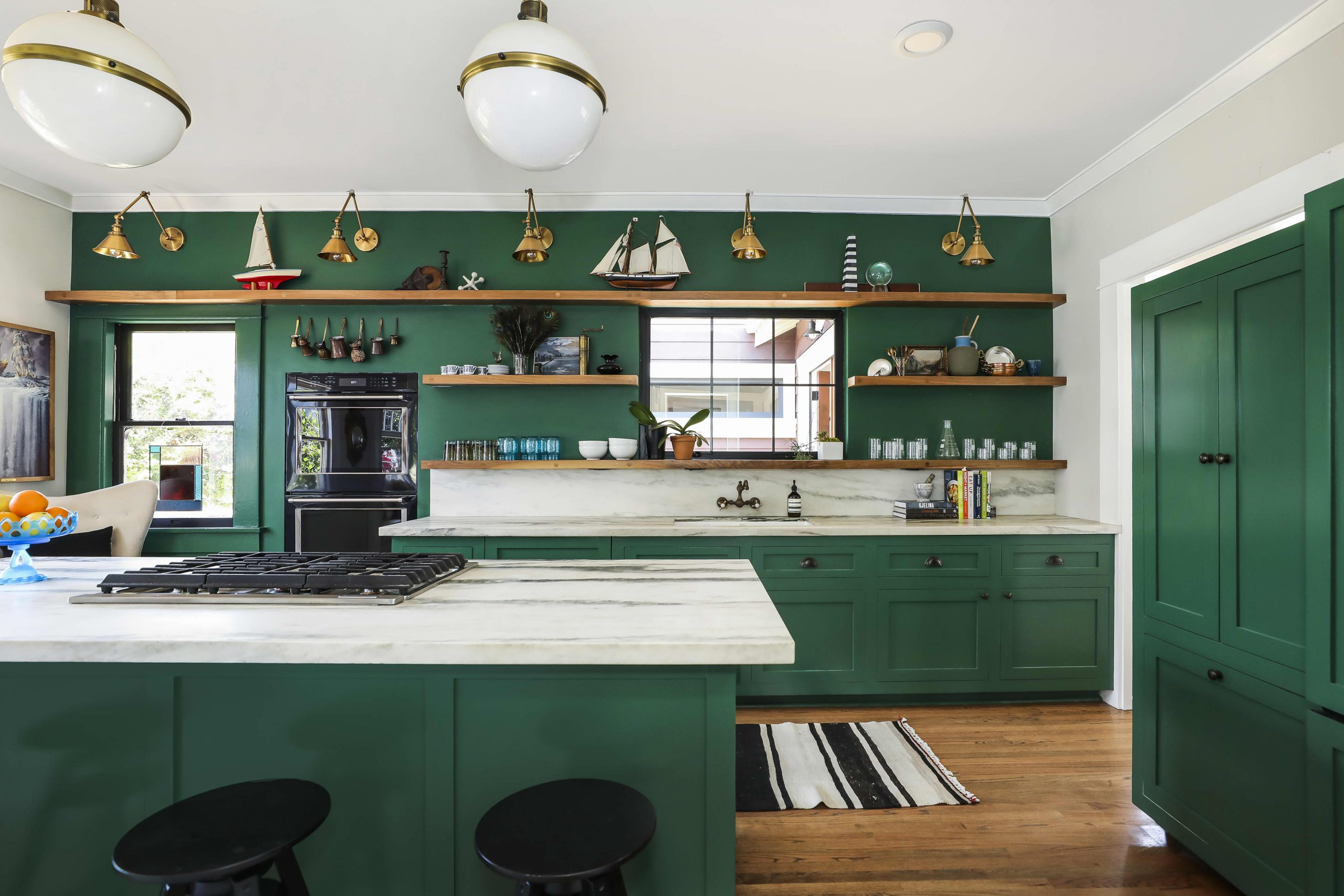 kitchen design with green cabinets