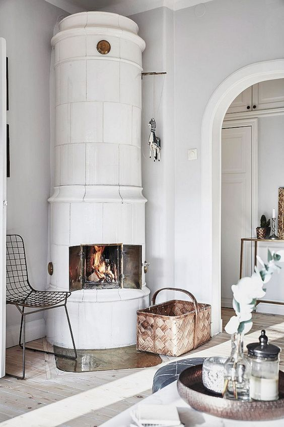 living room in all white with fireplace