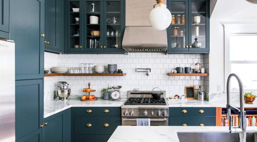 kitchen decor with blue cabinets