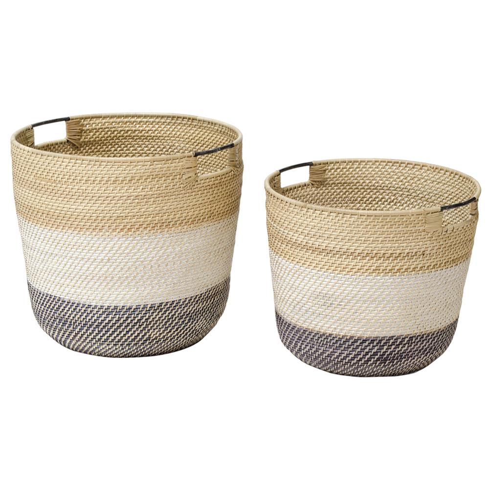 Set of two rattan baskets