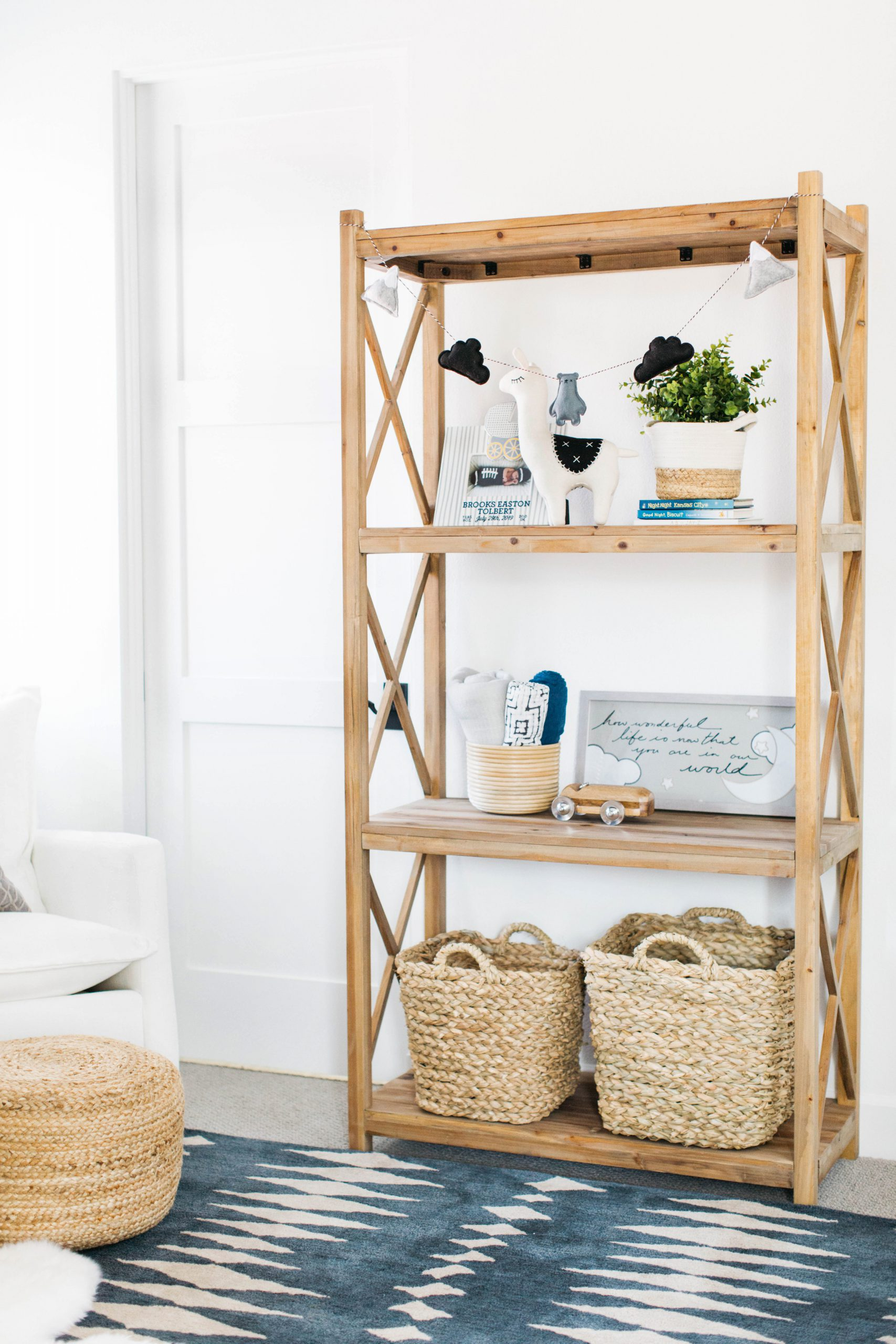 Nursery shelf with rattan baskets