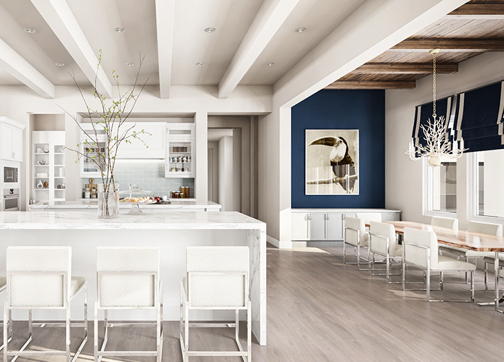 white kitchen with blue accent wall
