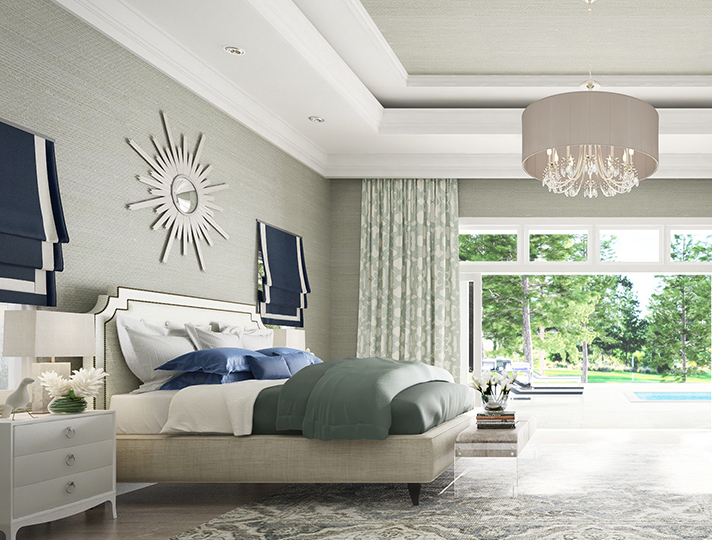 bedroom interior with pops of blue