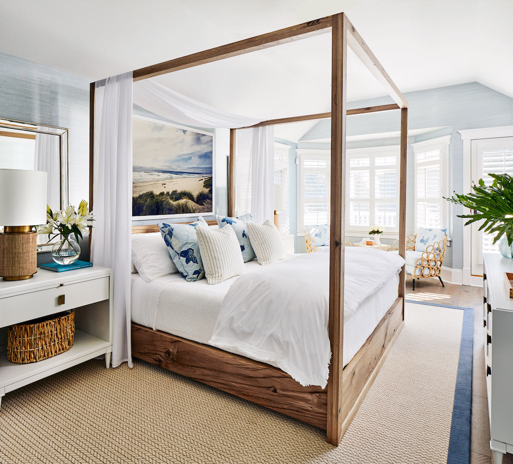 Beachy bedroom interior with blue accents