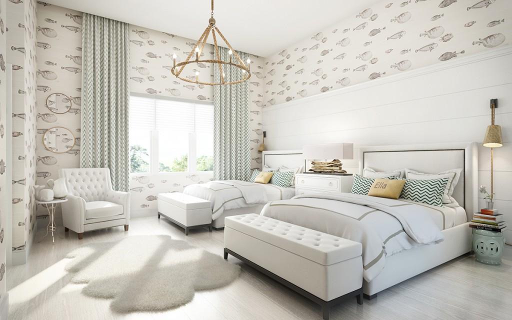 light bedroom with wallpaper
