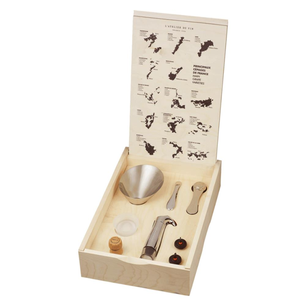 wooden box of wine tools