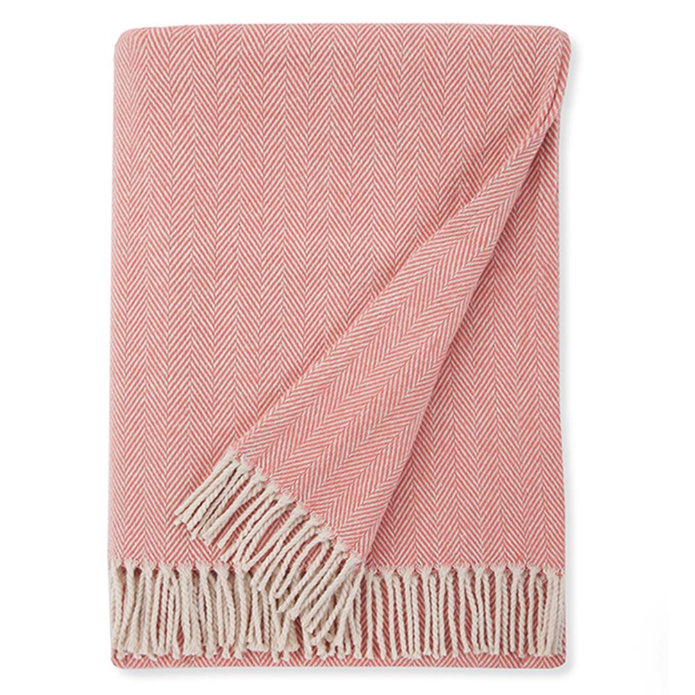 pink throw blanket with fringe