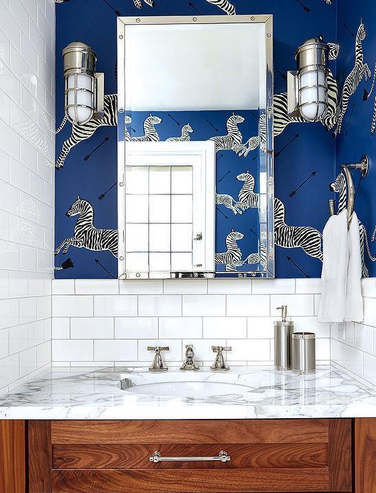 bathroom with blue zebra wallpaper