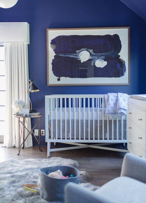 nursery with blue walls