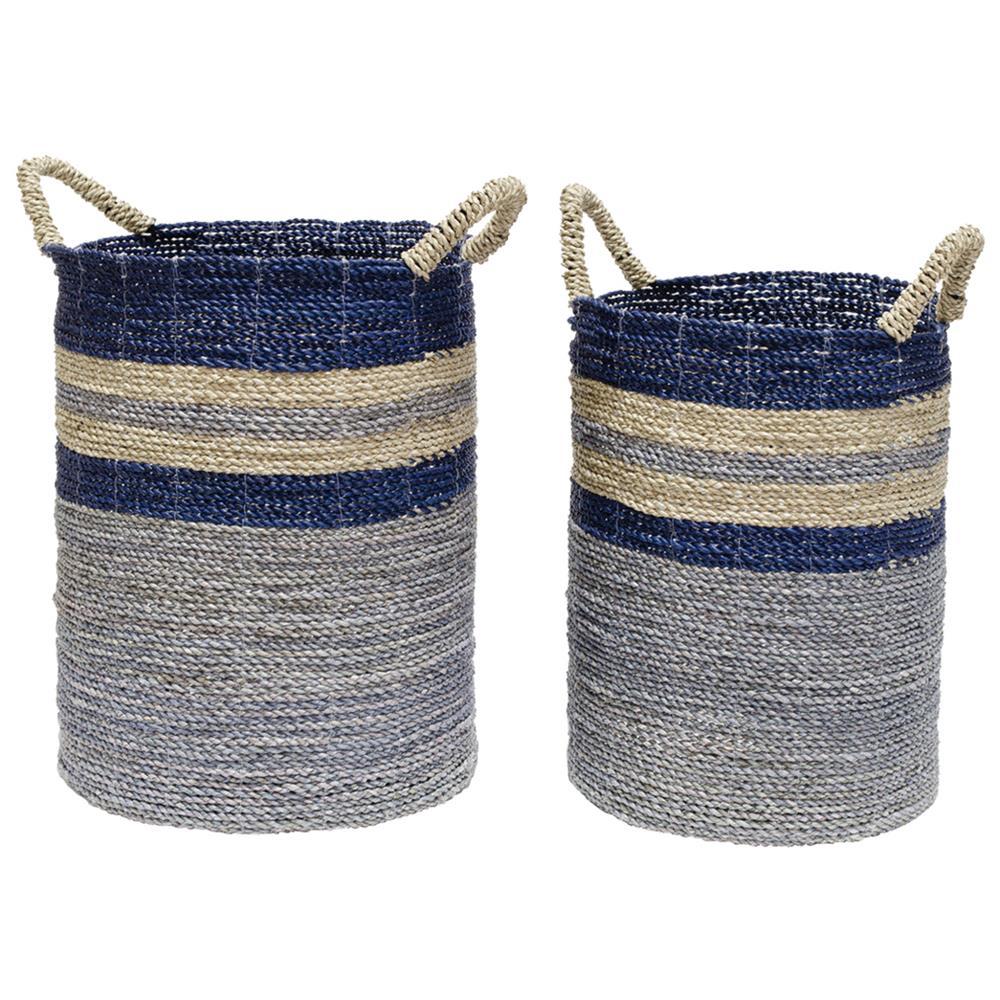 blue rattan baskets