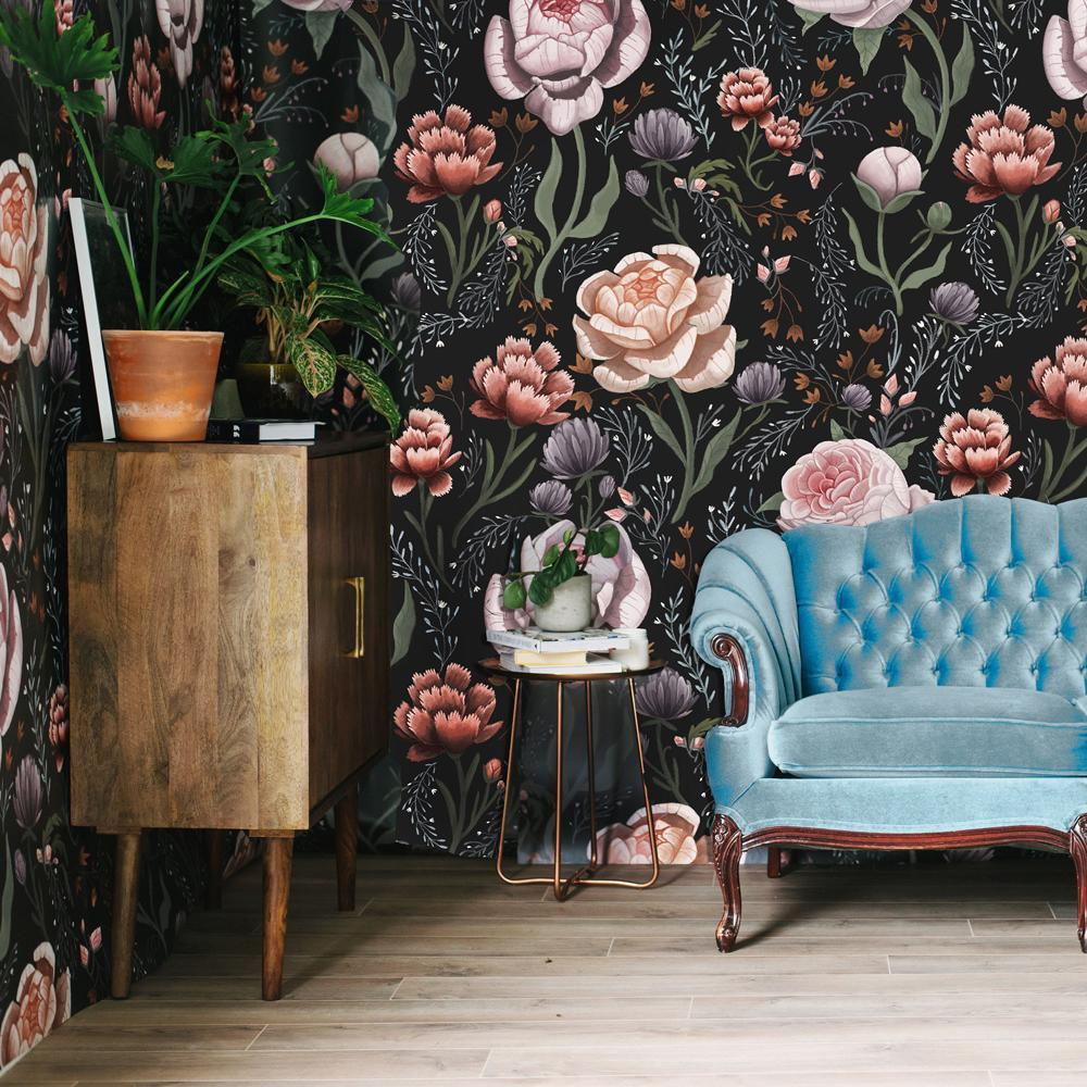 room with dark floral wallpaper