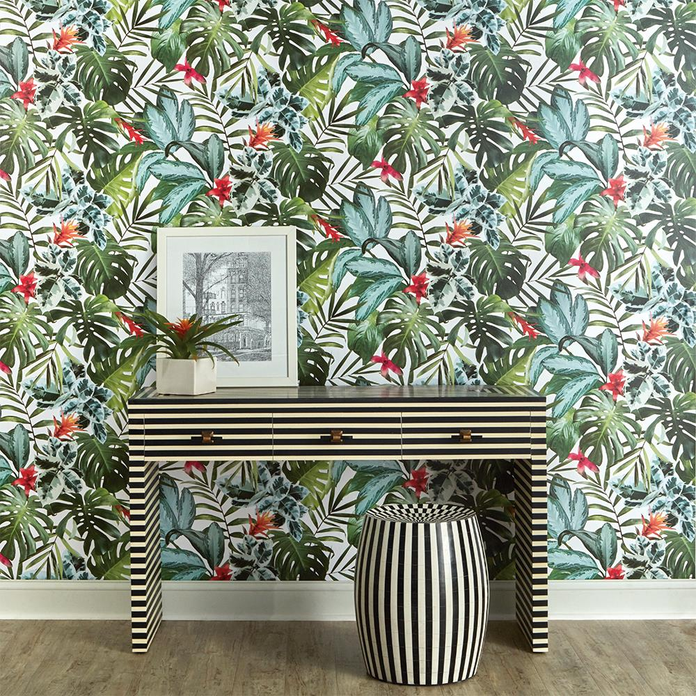 room with bright botanical wallpaper pattern