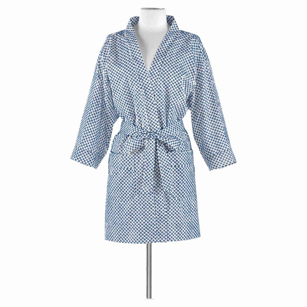 Blue and white bathrobe