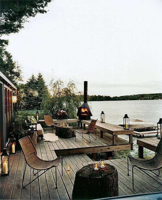 lakehouse deck with furniture