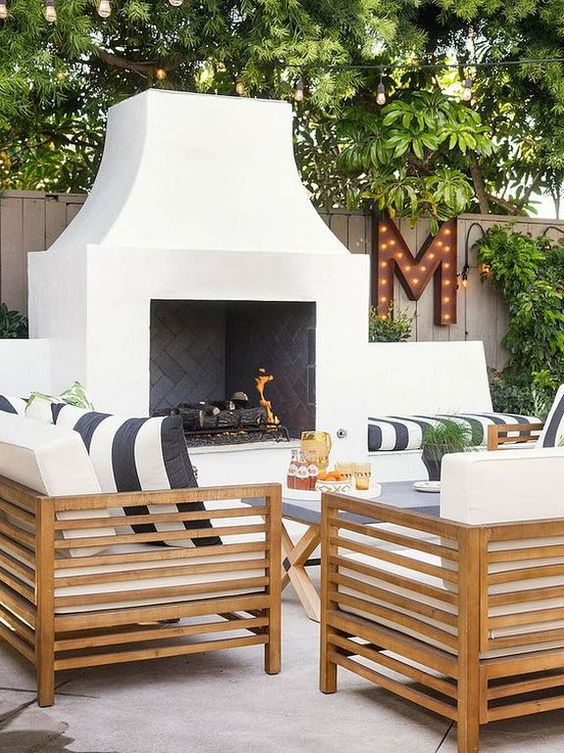 outdoor fireplace and patio
