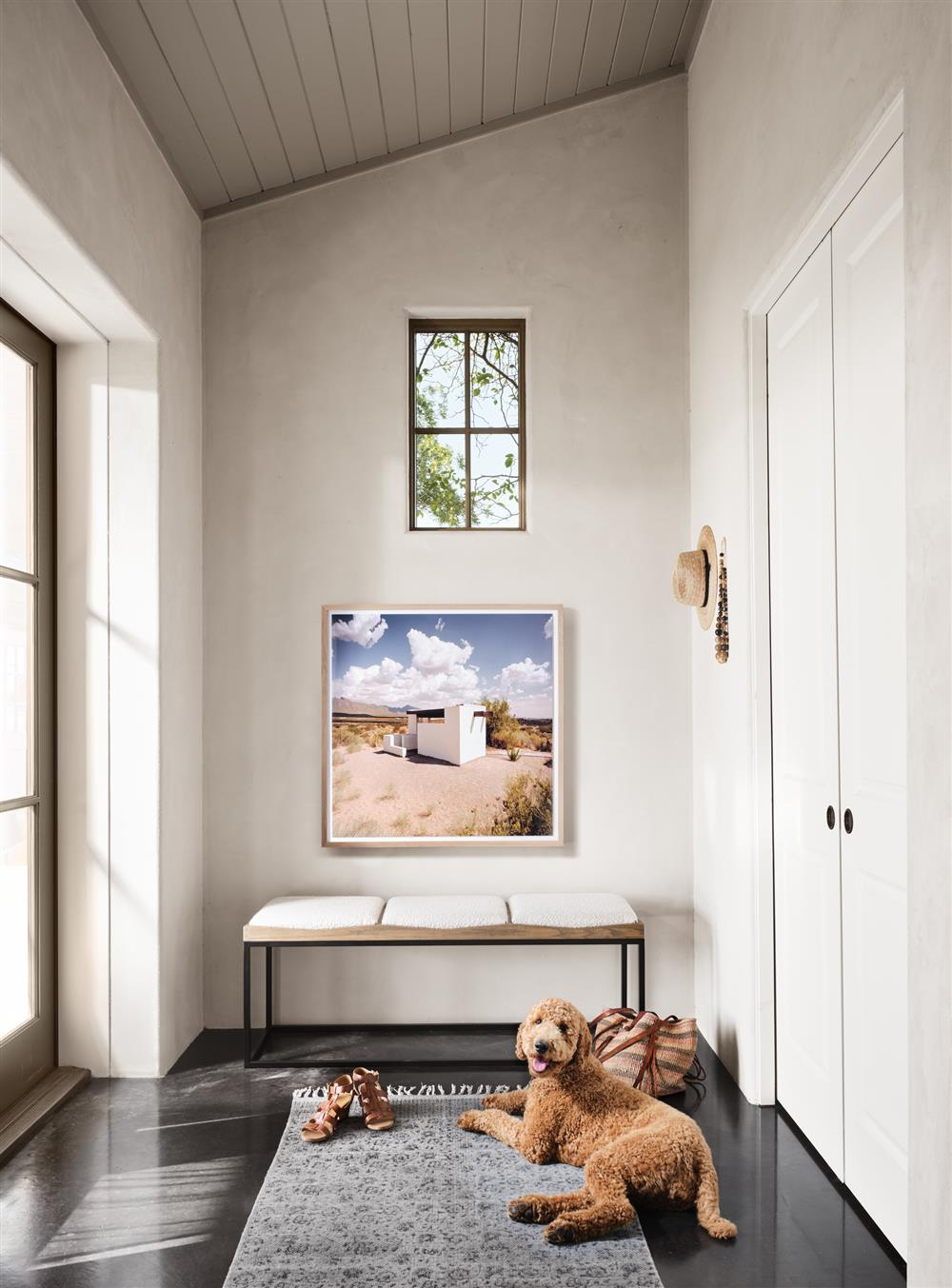 entryway with bench and dog