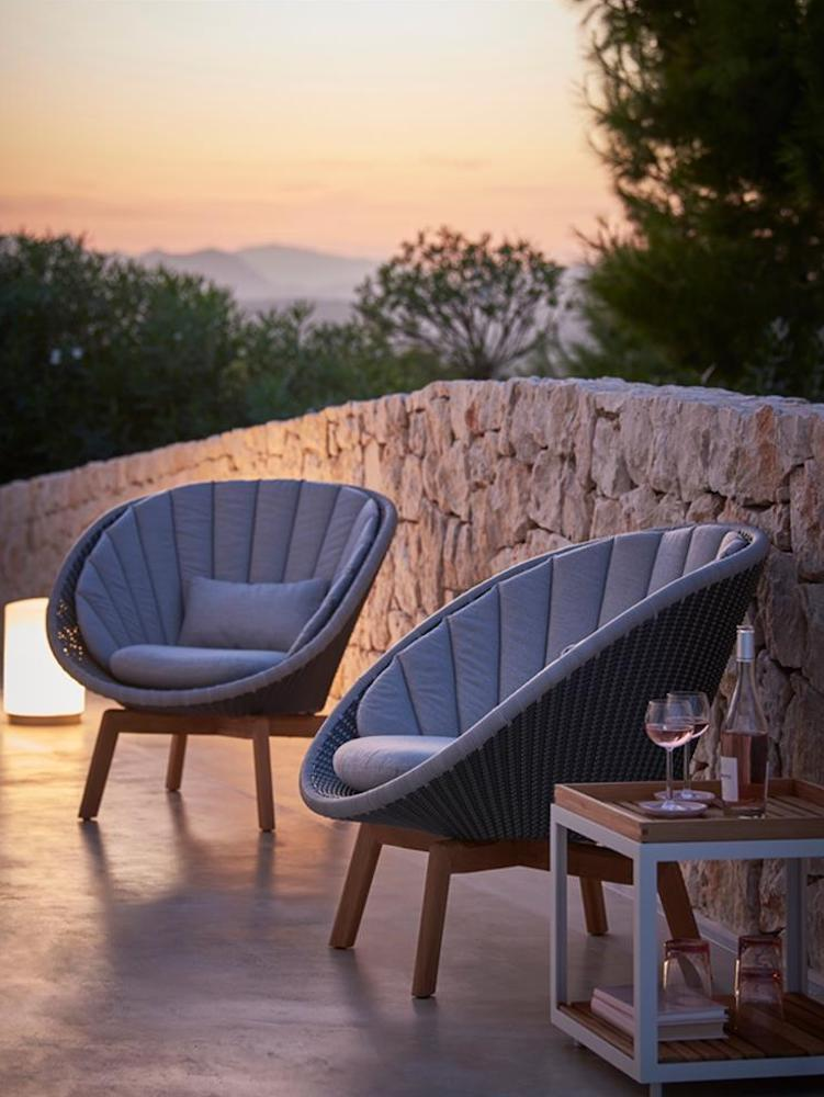 outdoor chairs with sunset