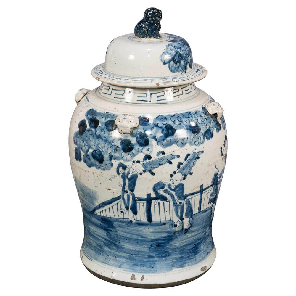 blue and white urn