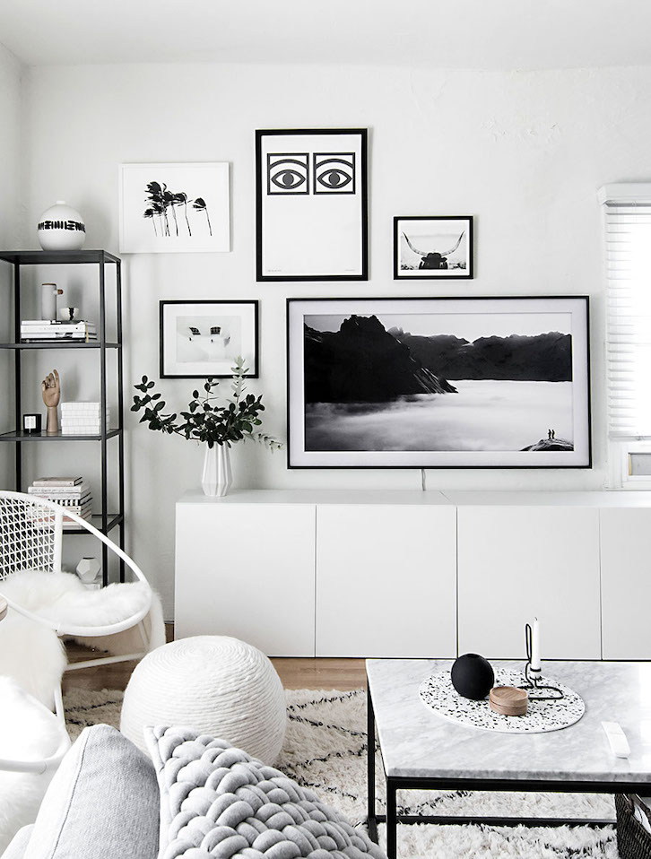 black and white living room design